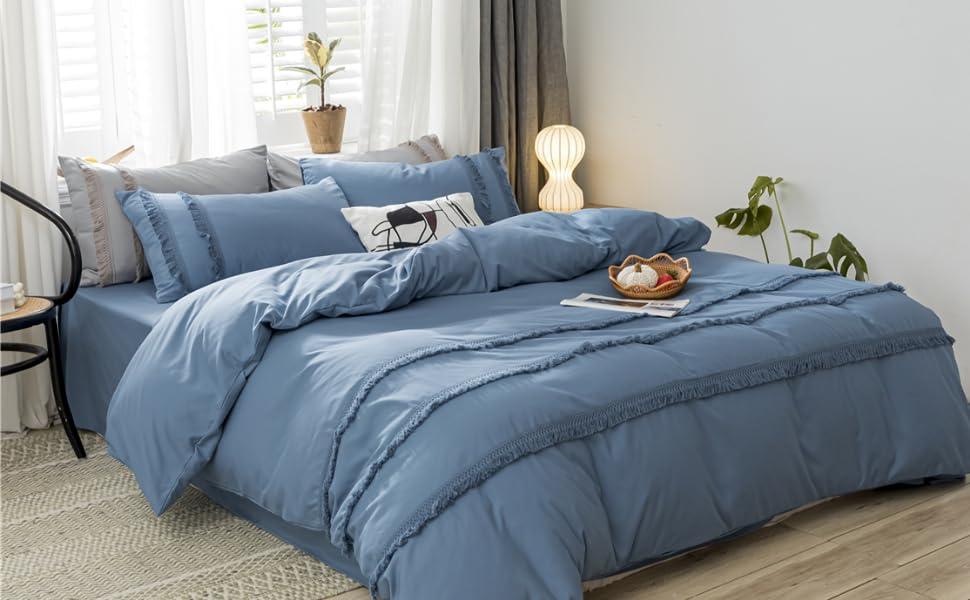 Blue Tassel Duvet Cover Set