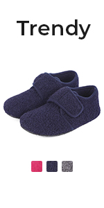 Boys Girls Wool Like House Slippers Kids Shoes with Adjustable Hook and Loop