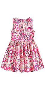 niña rosa rojo vestido floral