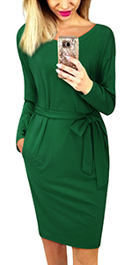 Women's Crewneck Long Sleeve Belt Wrap Elegant Pencil Dress with Pockets