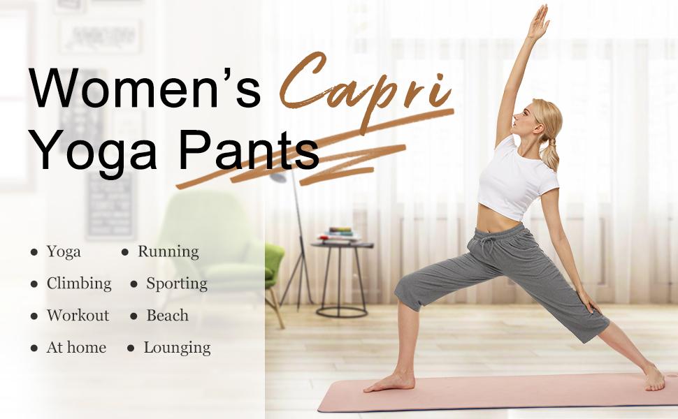 Stretch Capri Yoga Pants for Women Wide Leg