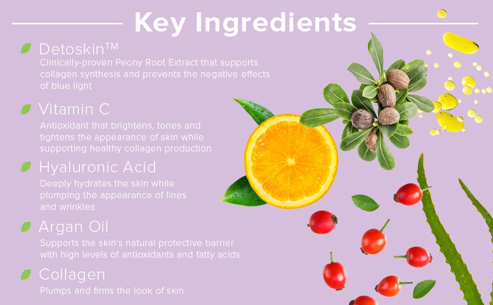 detoskin, vitamin c, hyaluronic acid, argan oil, collagen
