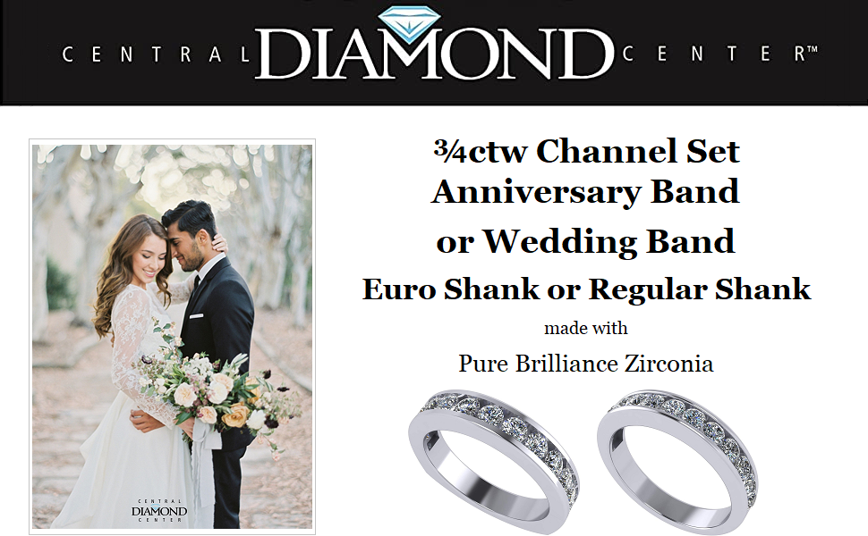 Anniversary Band Ring Channel Set w/ 0.75ctw Zirconia in Silver, 10K, or 14K Gold