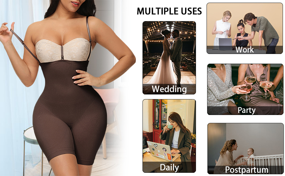 Women Hi-Waist Trainer Shapewear Tummy Control Body Shaper Butt Lifer Thigh Slimmer SeamlessBodysuit
