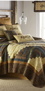 Cabin Raising Pine Cone, Donna Sharp, Quilts, Quilt Sets, Lodge, Bear Pattern