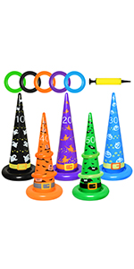 Halloween Inflatable Witch Hat Ring Toss Game