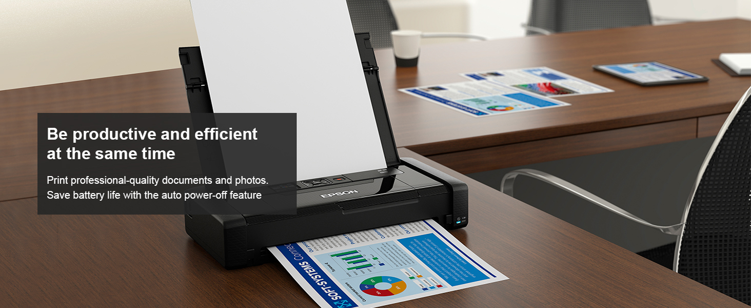Print professional-quality documents and photos. Save battery life with the auto power-off feature