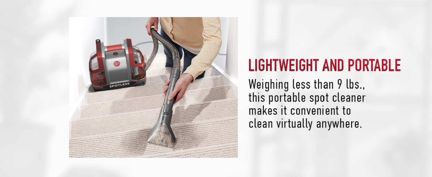 hoover spotless portable carpet upholstery cleaner machine self clean remover light weight car pet