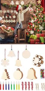 40Pcs DIY Wooden Christmas Ornaments