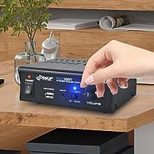 PCA12BT.5 2x25 Watt Mini Power Amplifier-Portable Wireless Bluetooth Mini Home Stereo Audio
