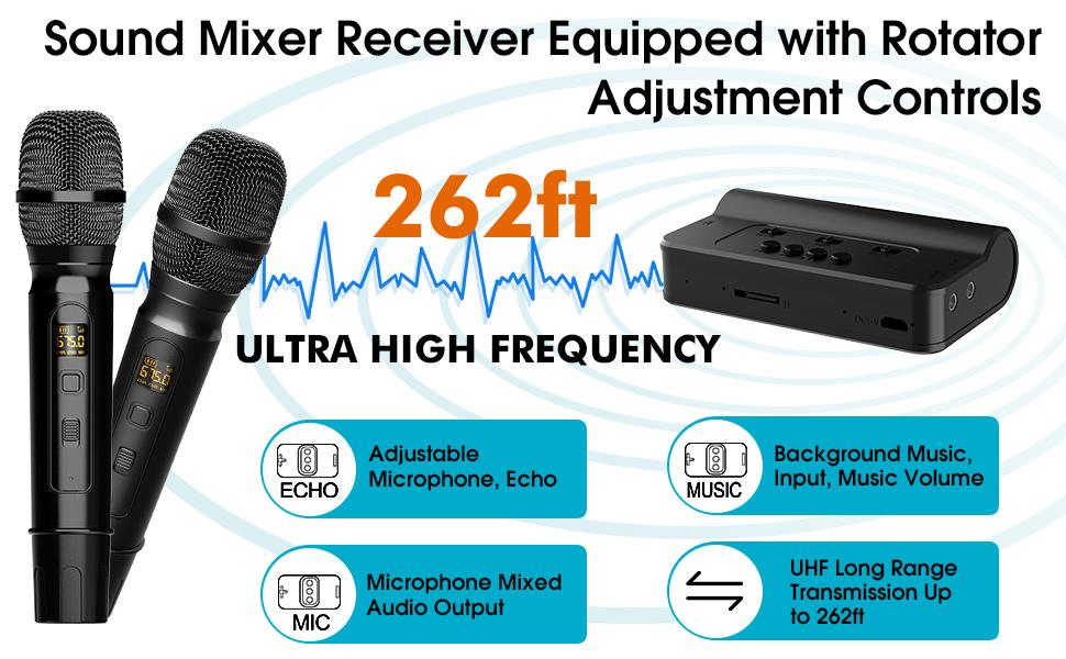 Karaoke Microphone Wireless Mic Cordless Dual with Bluetooth Receiver Box
