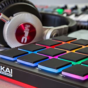 Akai Professional MPD 226 with connected  headphones