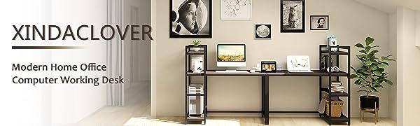 xindaclover modern simple home office desks for student kids PC table workstation black oak