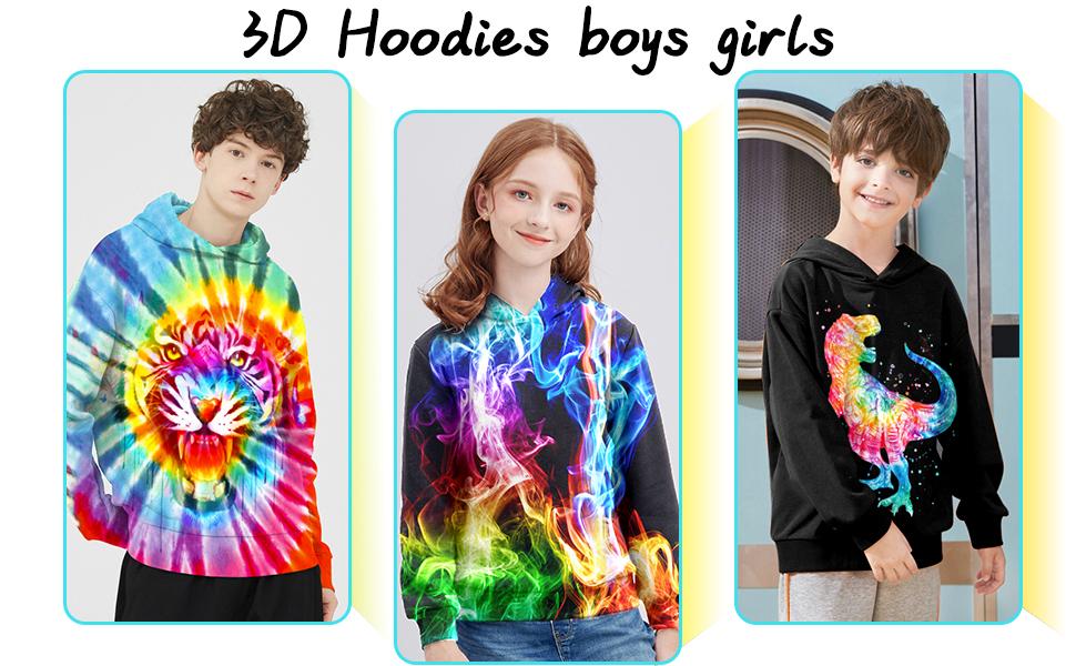 3d boys girls hoodies funny graphic print sweatshirt for 6-16 youth
