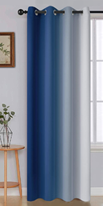 grommet greyish white and blue ombre light blocking curtains for living room