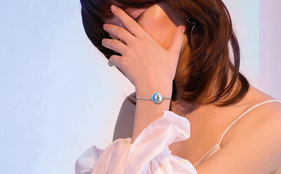 Wolf Opal Moon Link Bracelet