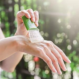 Aloe vera applied on hand