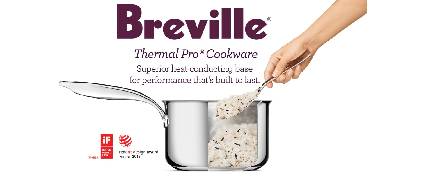 breville, stainless steel, design, skillet, cookware, ThermalPro, pots and pans. oven safe,induction