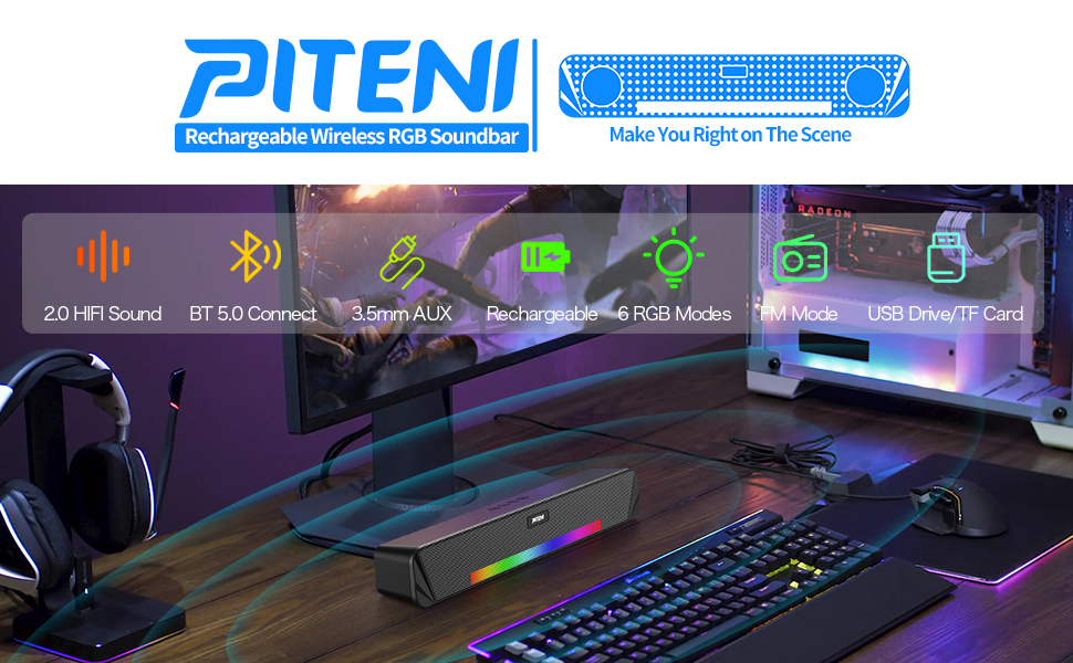 Computer Speakers, piteni Rechargeable 1200 mAh Bluetooth Speaker with 6 RGB Light Mode +3.5mm AUX
