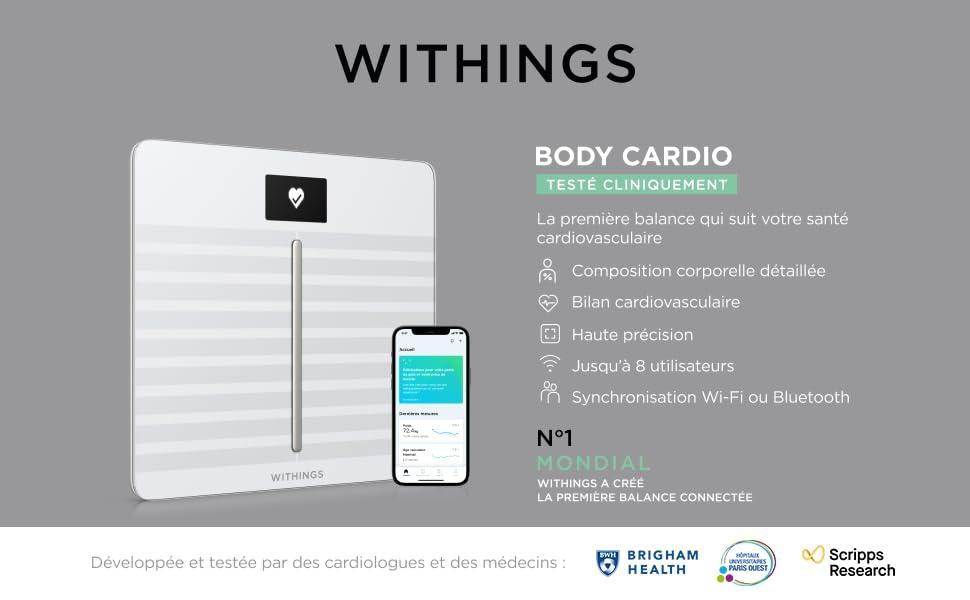 Withings Body Cardio - Balance connectée Wi-Fi impédancemètre avec composition corporelle