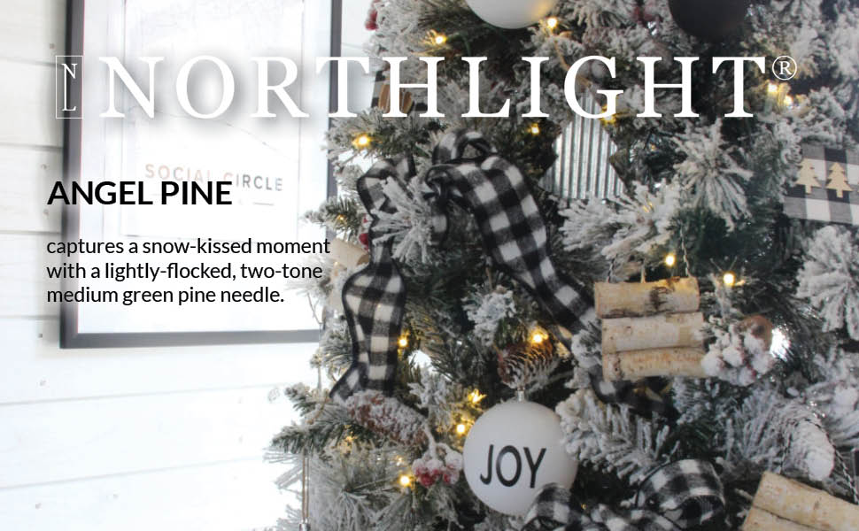 Northlight logo on top of an example of a faux snowy flocked Christmas Tree