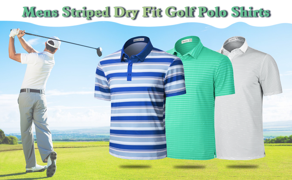 Mens Dry Fit Striped Golf Polo Shirts