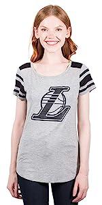 Ultra Game NBA Women's Box Out Stripe Short Sleeve T-Shirt Top