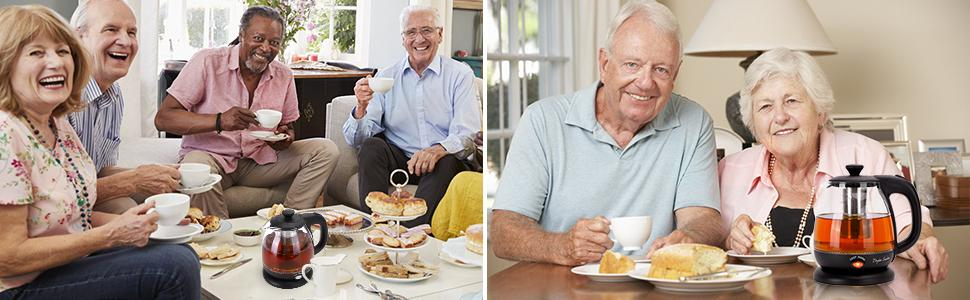 The family is drinking tea made in a kettle, paired with desserts, and enjoying afternoon tea time.