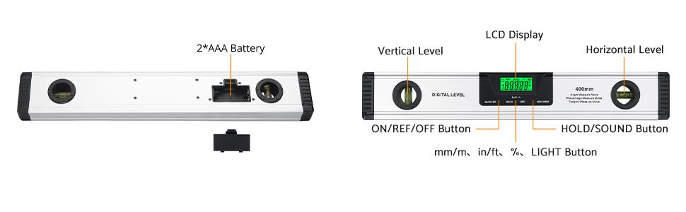 digital level with vertical level horizontal level mm/m in/ft % light