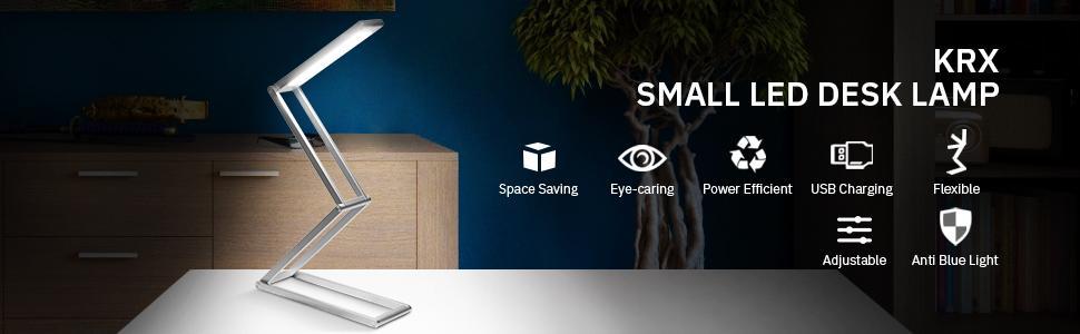 Eye-Caring Aluminium Alloy Table Lamps Energy /& Space Saving Adjustable Brightness Foldable /& Portable Small Anti Blue Light Reading Desk Light for Home Office KRX LED Desk Lamp