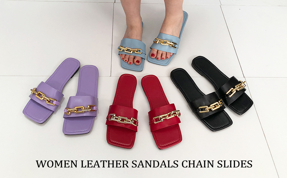 Women's Leather Sandals Strap Slides Chain Synthetic Band