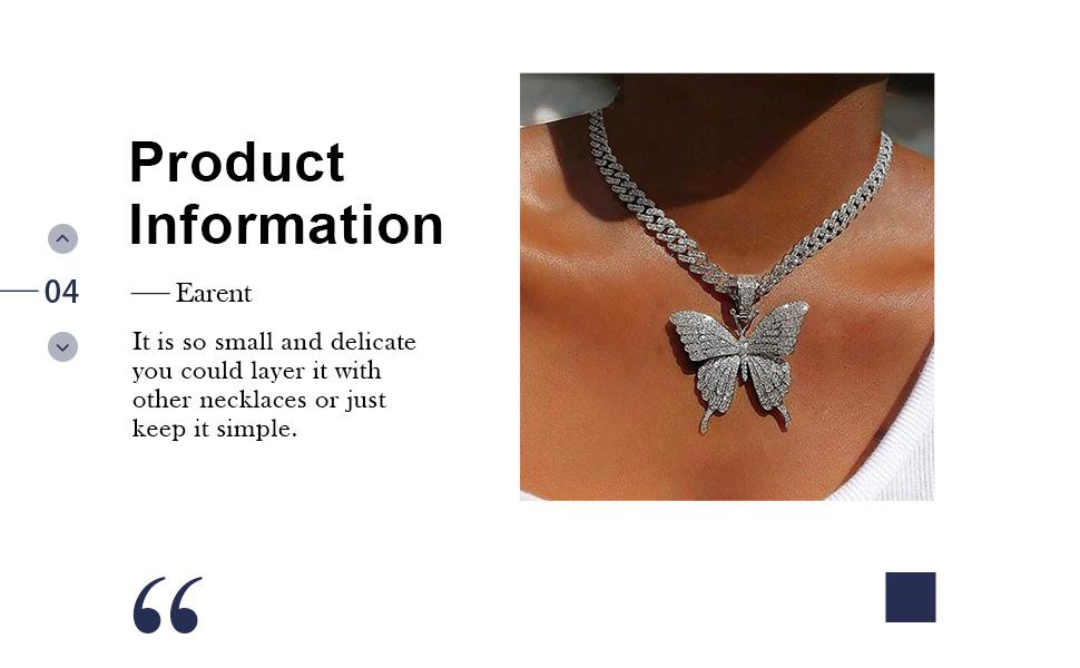 Earent Rhinestone Necklace Butterfly Choker Necklace