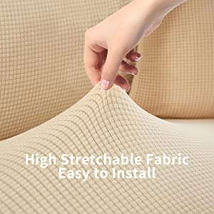 Waterproof Sofa Covers for 3 Cushion Couch , Beige Slipcover Sofa, High Stretchable Sofa Cover