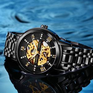 Waterproof Automatic Self Winding Rome Number Diamond Wrist Watch