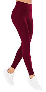 wine red leggings women