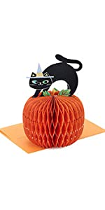 Black cat and pumpkin Halloween pop up card for kids and adults