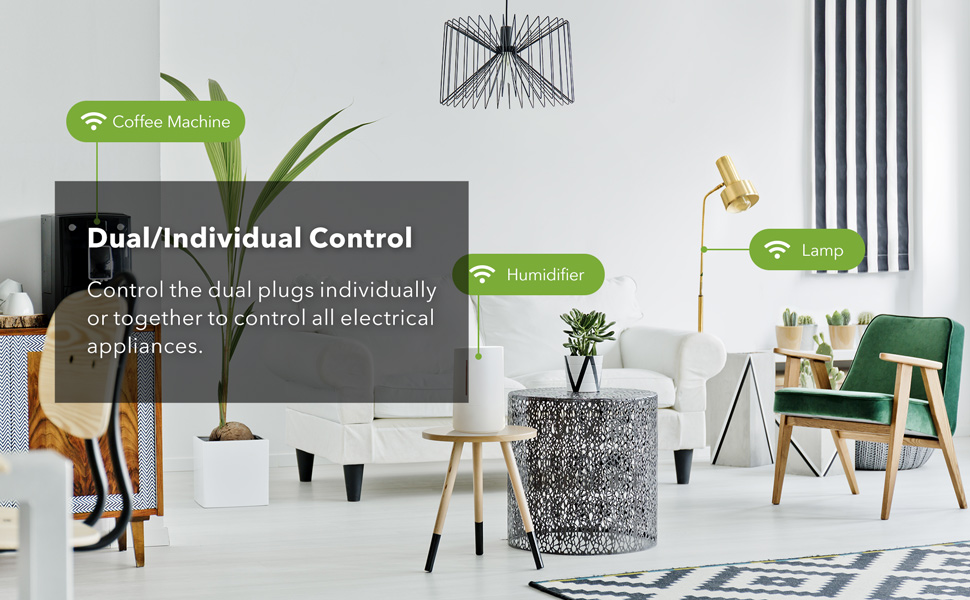 Control the dual plugs individually or together to control all electrical appliance