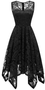 Women Spaghetti Strap Sleeveless Lace Adjustable Bridesmaid Cocktail Party Prom V Neck Dress