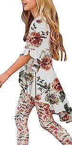 Caitefaso Girls Cute Shirts Summer Fall Ruffle Tunic Tops 3/4 Sleeve High Low Slim Blouses