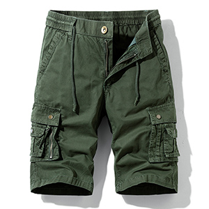 Hot island Men's Relaxed Fit Multi Pockets Big and Tall Size Outdoor Cargo Shorts Army Green
