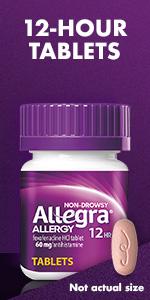 OTC allergy 12-hour tablets.