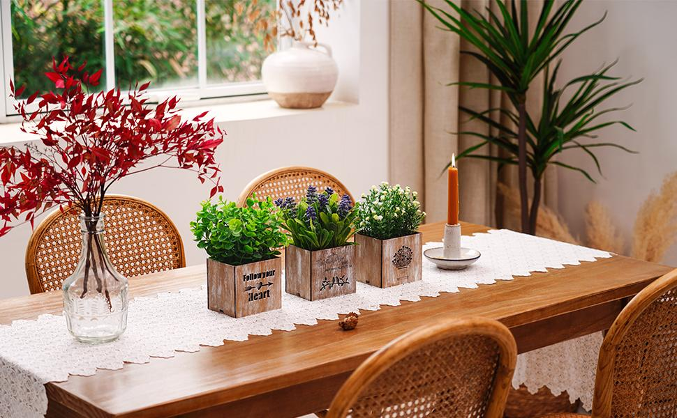 Artificial Plants & Flowers with Lights in Wooden Box