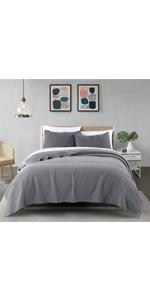 2-Grey cotton Bowline Stitch 3-Piece Quilt Set