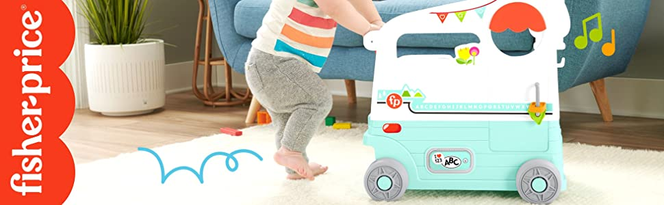 A baby with the Fisher-Price On The Go Camper + Fisher-Price Logo