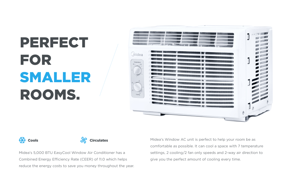 Midea small window air conditioner (window ac unit) & fan helps cool and circulate for small rooms