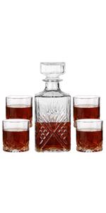 Whiskey Glasses Decanter+Four Glasses