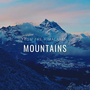 Aerial view of snowcapped Himalayan mountains with text from the Himalayan mountains