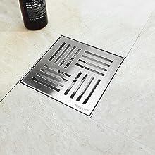 "6"" Square Shower Drain Modern Design"