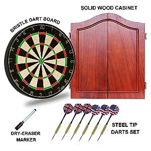 bristle dart board cabinet set
