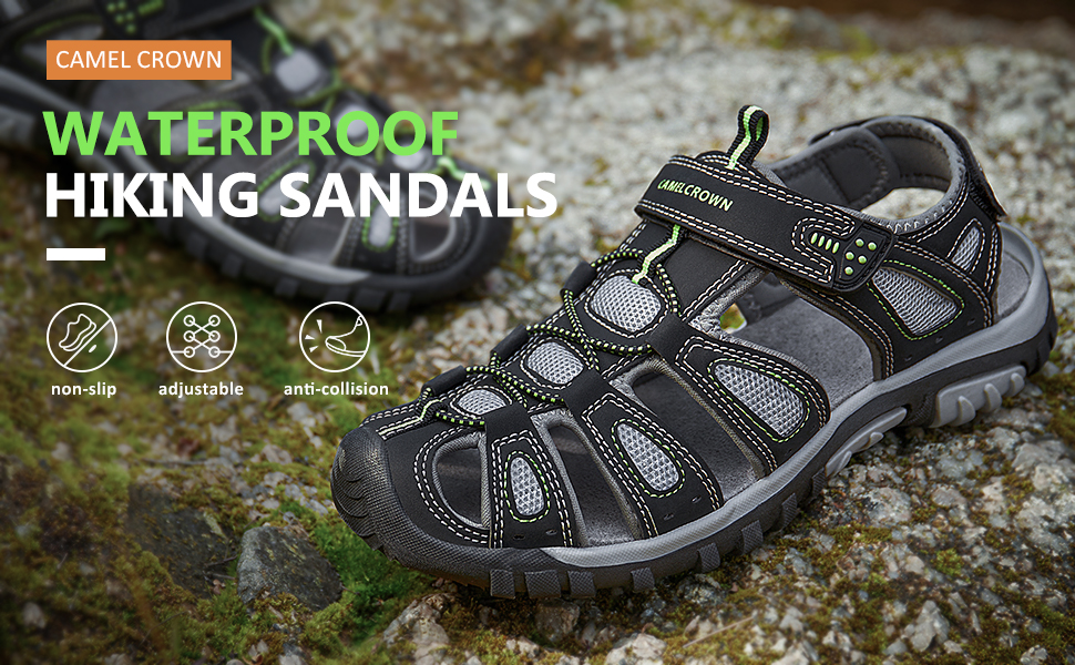 waterproof sandals mens closed toe hiking sandals for summer water wading athletic sport beach